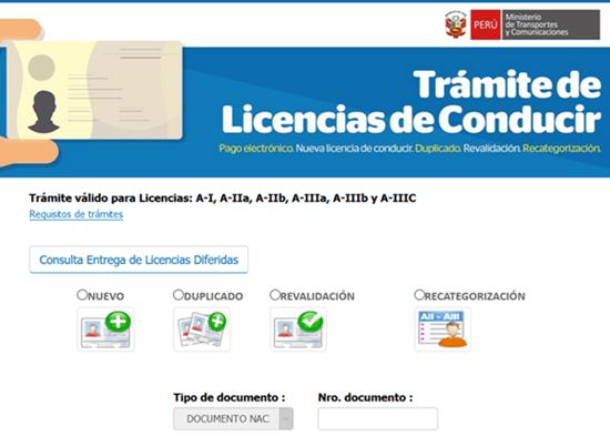 tramite de licencia online