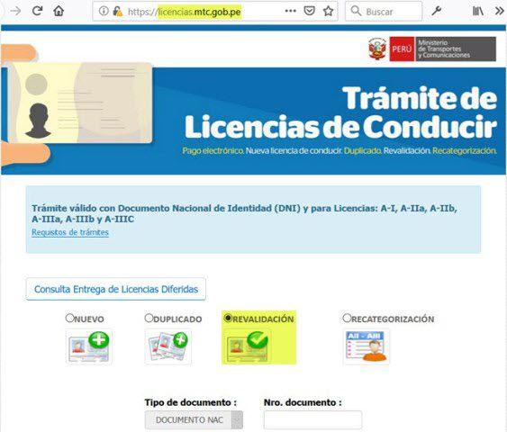 Renovar licencia de conducir brevete online