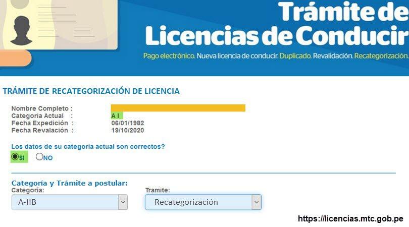 Recategorizar la Licencia de Conducir - Paso 3