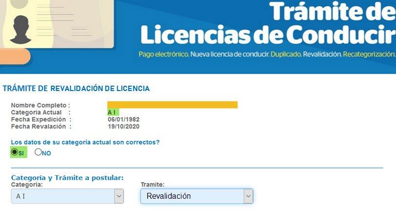 Revalidar la Licencia de Conducir Online - Paso 2